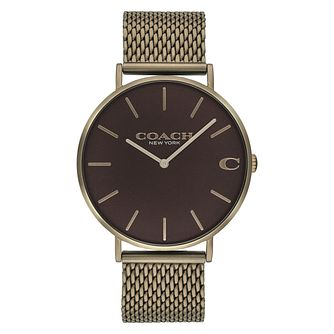 Coach Charles Men's Khaki Ion Plated Mesh Bracelet Watch - Product number 2897474