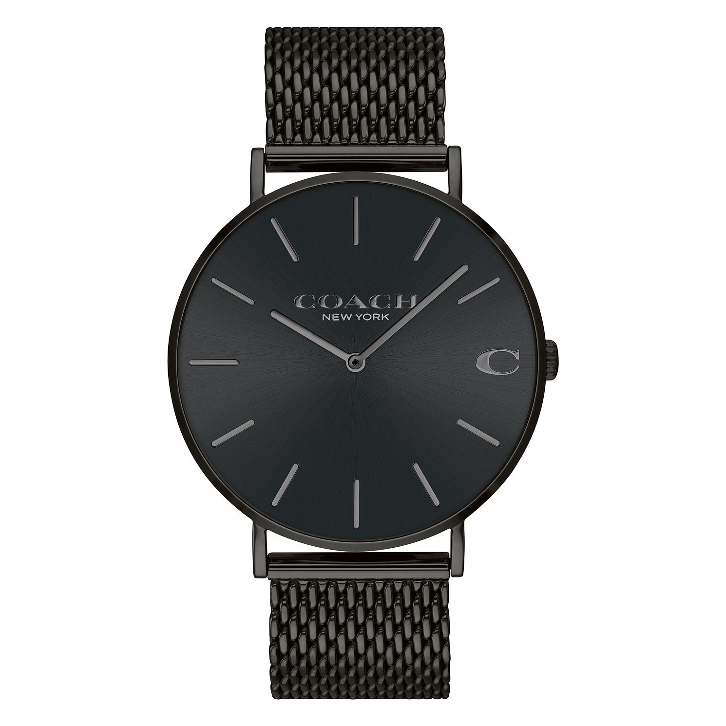 Coach Charles Men's Black Ion Plated Mesh Bracelet Watch - Product number 2897482