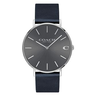 Coach Charles Men's Midnight Blue Leather Strap Watch - Product number 2897490