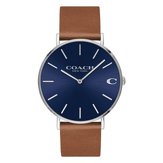 Coach Charles Men's Blue Dial Brown Leather Strap Watch - Product number 2897504
