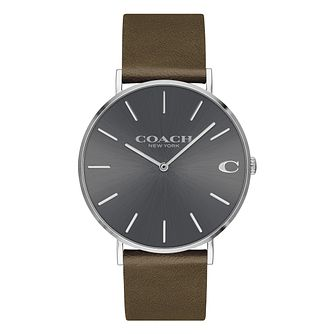 Coach Charles Men's Grey Dial Brown Leather Strap Watch - Product number 2897512