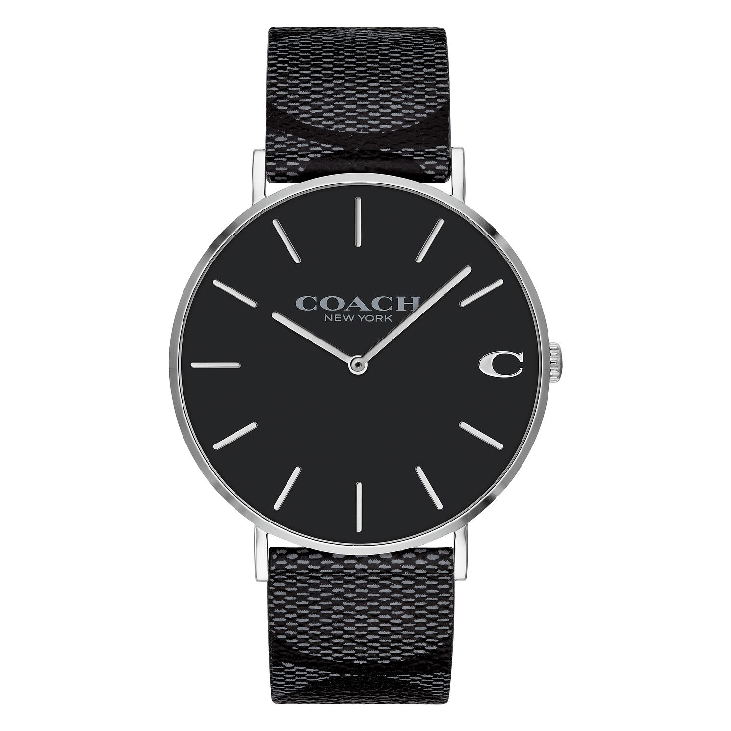 Coach Charles Men's Signature Black Leather Strap Watch - Product number 2897539