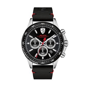 Ferrari Scuderia Pilota Men's Black Leather Strap Watch - Product number 2899493