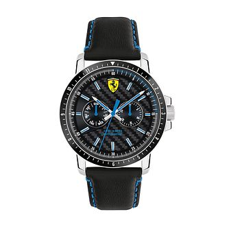Ferrari Scuderia Turbo Men's Black Leather Strap Watch - Product number 2899558