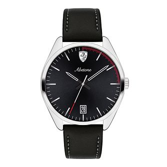 Ferrari Scuderia Abetone Men's Black Leather Strap Watch - Product number 2899728