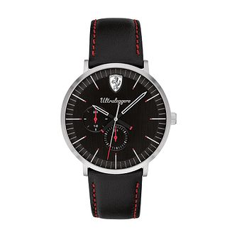 Ferrari Scuderia Ultraleggero Black Leather Strap Watch - Product number 2900033