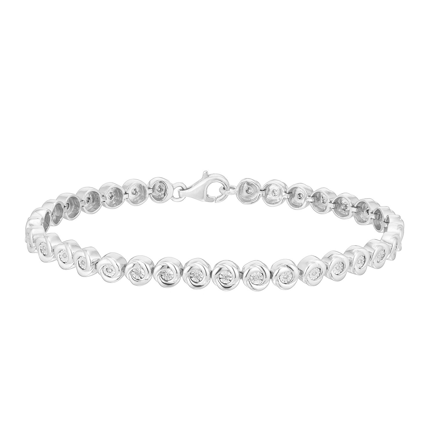 Sterling Silver 0.10ct Diamond Round Bracelet - Product number 2900270