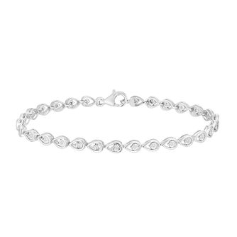 Sterling Silver 1/10ct Diamond Pear Bracelet - Product number 2901382