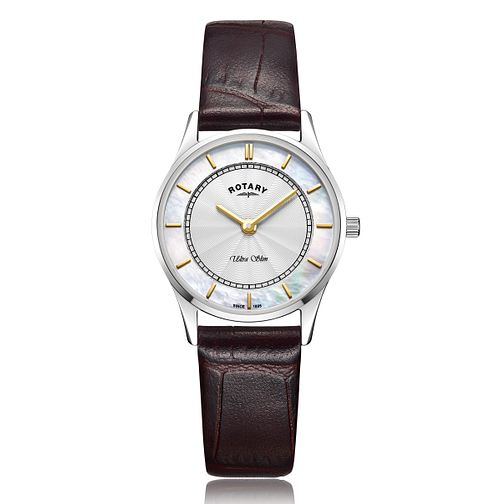Rotary Ultra Slim Ladies' Black Leather Strap Watch - Product number 2902184