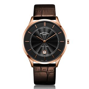 Rotary Ultra Slim Men's Black Leather Strap Watch - Product number 2902451