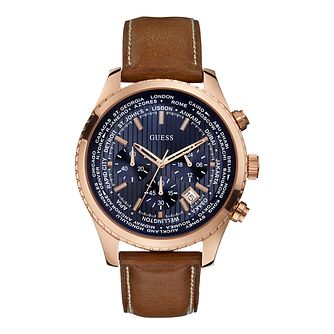 Guess Men's Blue Dial Brown Leather Strap Watch - Product number 2912805