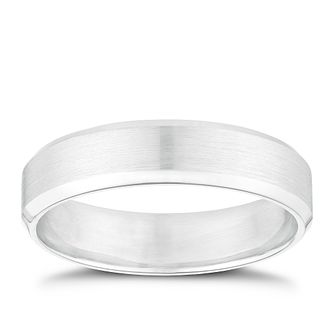 9ct White Gold 5mm Matt & Polished Band - Product number 2913143