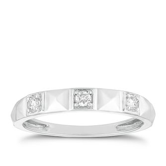 9ct White Gold 1/10ct Diamond Geometric Ring - Product number 2914298
