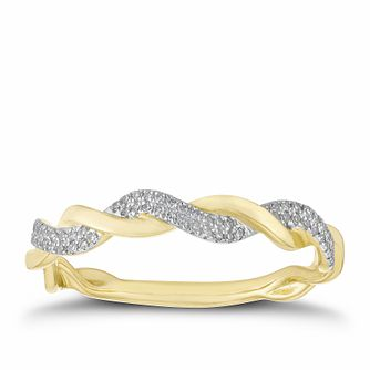 9ct Yellow Gold 0.10ct Diamond Twisted Ring - Product number 2914530