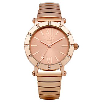 Lipsy Ladies' Crystal Set Rose Gold Tone Expander Watch - Product number 2917564