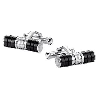 Montblanc stainless steel and black resin cufflinks - Product number 2918412