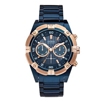 Guess Men's Chronograph Navy Stainless Steel Bracelet Watch - Product number 2920719