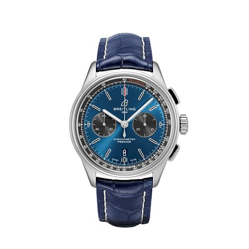 Breitling Premier B01 Chronograph Blue Leather Strap Watch - Product number 2923394