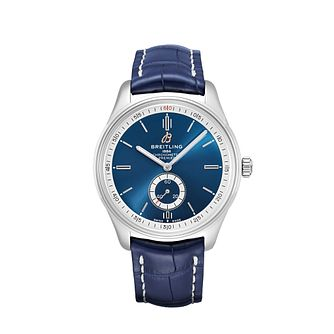 Breitling Premier Automatic Blue Leather Strap Watch - Product number 2923521