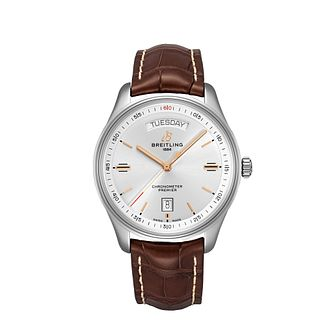 Breitling Premier Day & Date Brown Leather Strap Watch - Product number 2923769