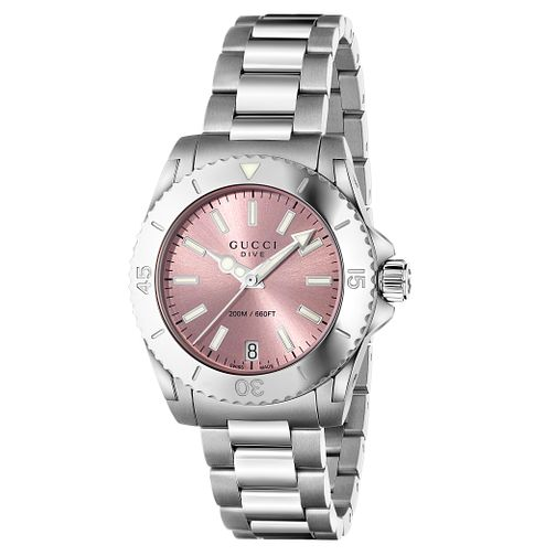 Gucci Dive pink dial stainless steel bracelet watch - Product number 2926164