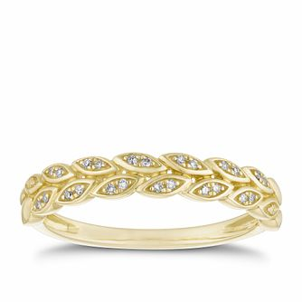 9ct Yellow Gold Diamond Leaf Ring - Product number 2926466