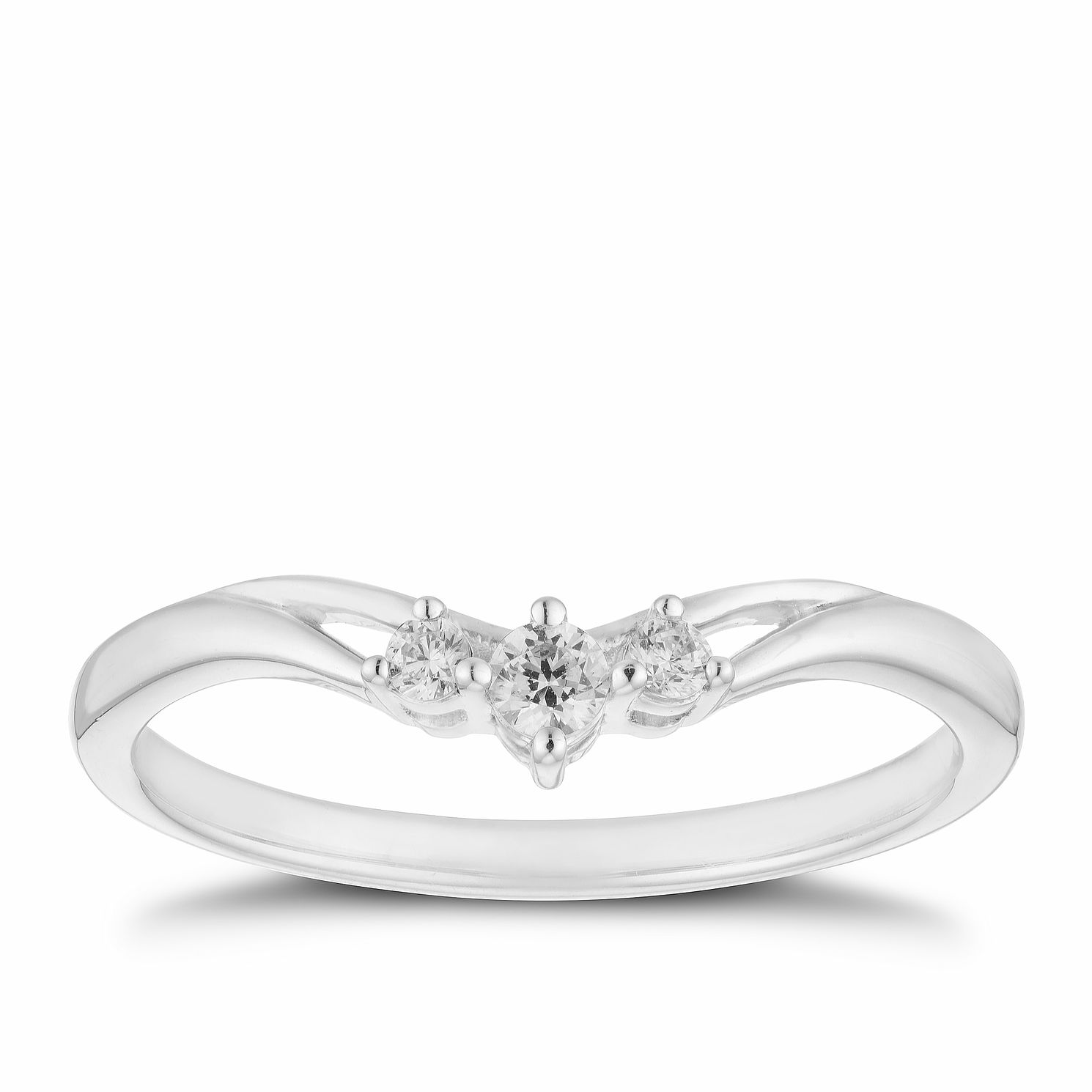 9ct White Gold 0.10ct Diamond Three Stone Ring - Product number 2927012