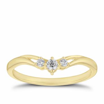9ct Yellow Gold 1/10ct Diamond Three Stone Ring - Product number 2927853