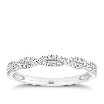 18ct White Gold 0.15ct Diamond Twist Ring - Product number 2929724
