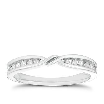 Platinum 1/10ct Diamond Crossover Ring - Product number 2930315