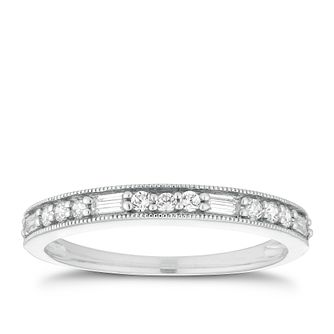 Platinum 1/5ct Baguette & Round Diamond Milgrain Ring - Product number 2930846