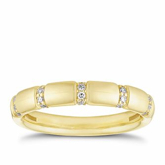 18ct Yellow Gold 1/10ct Diamond Station Ring - Product number 2931168