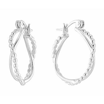 Sterling Silver Beaded Crossover Double Creole Earrings - Product number 2931346