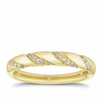 18ct Yellow Gold 0.15ct Diamond Twist Ring - Product number 2931494