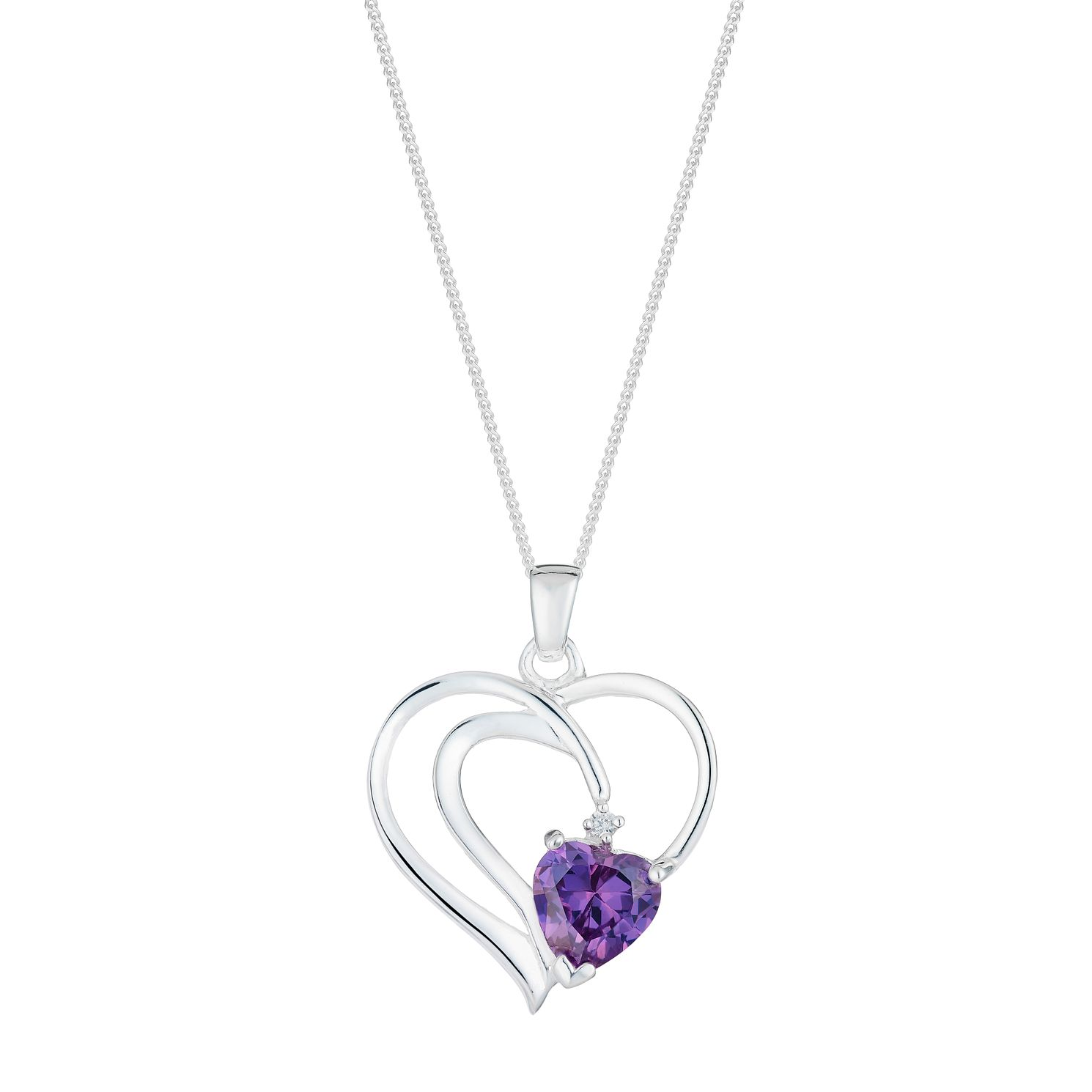 Sterling Silver & Purple Cubic Zirconia Twist Heart Pendant - Product number 2932512