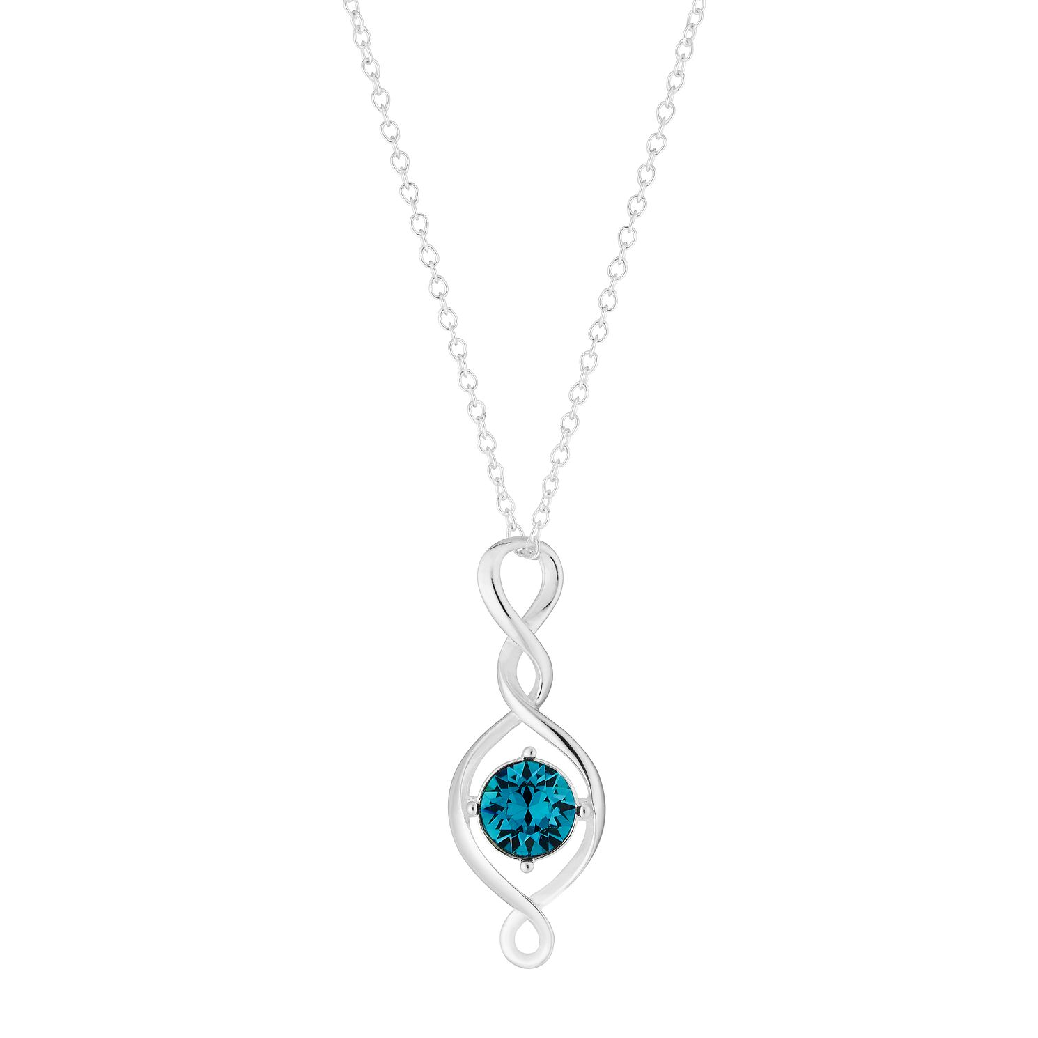 Sterling Silver & Teal Crystal Twist Drop Pendant - Product number 2932539