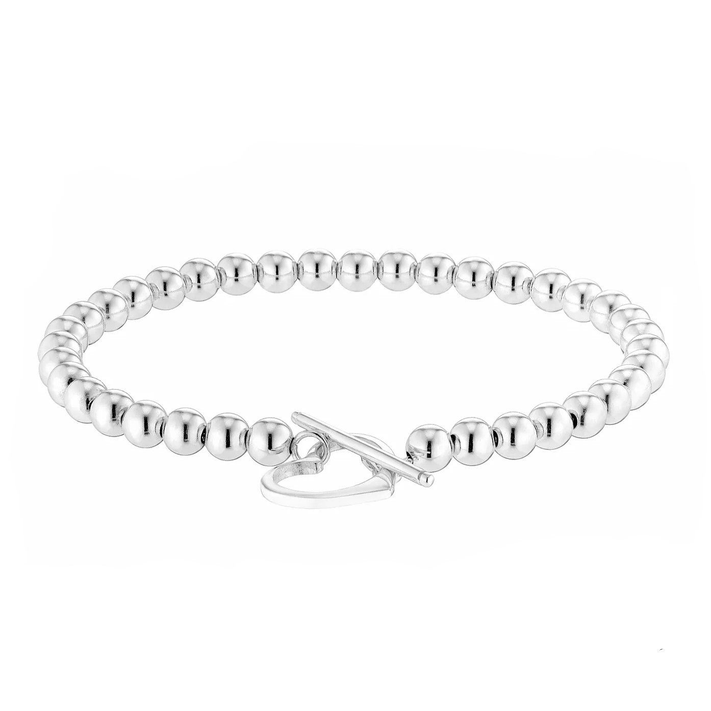 Sterling Silver Heart T-Bar Beaded Bracelet - Product number 2932954