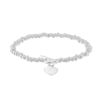 Sterling Silver Heart Charm T Bar Candy Bracelet - Product number 2932962