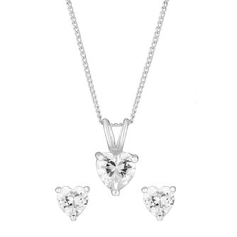 Sterling Silver & Cubic Zirconia Heart Earring & Pendant Set - Product number 2933020