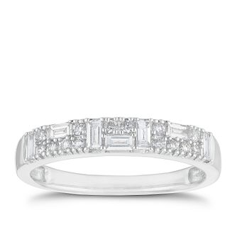 9ct White Gold 1/3ct Round & Baguette Mixed Diamond Ring - Product number 2934264
