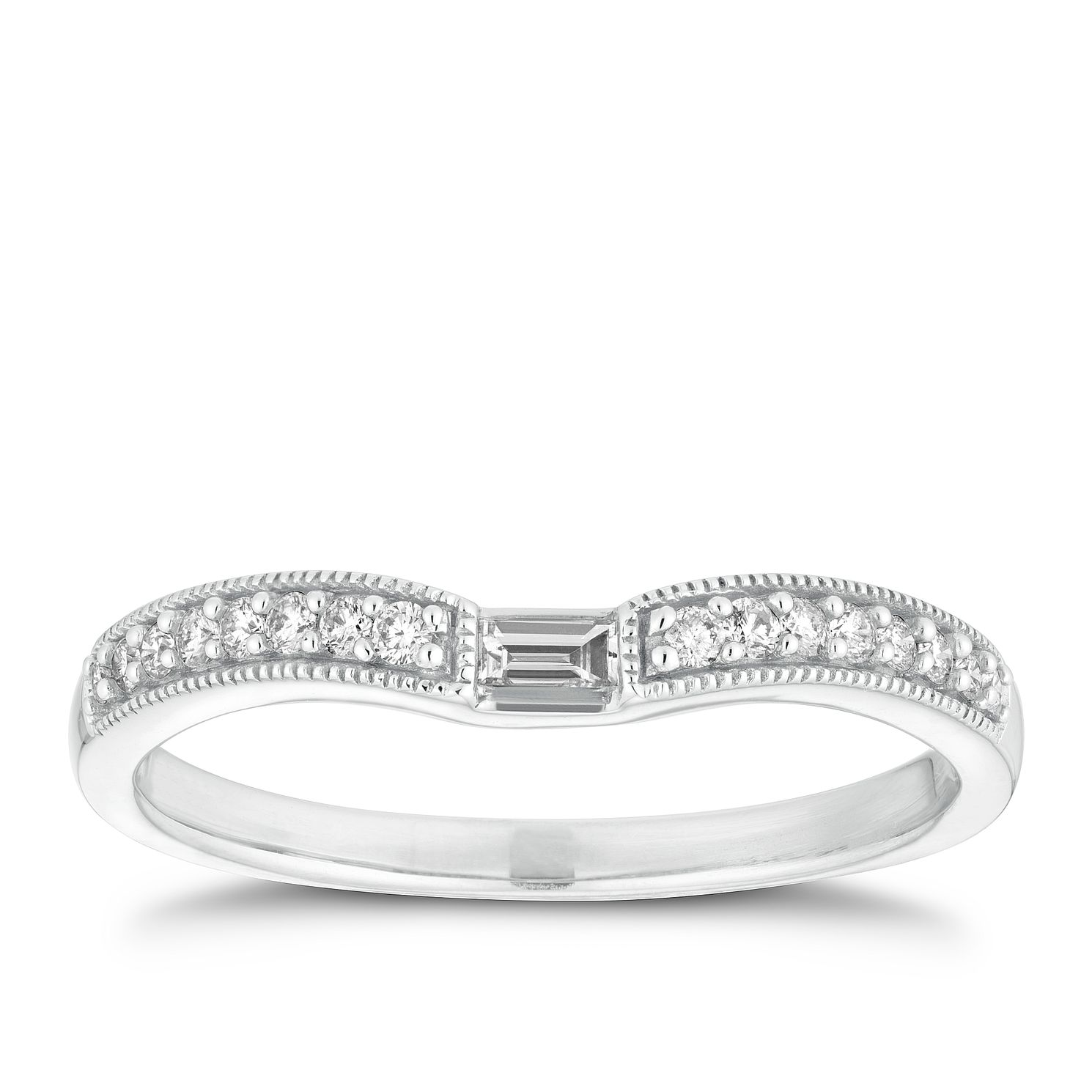 18ct White Gold 0.12ct Baguette Diamond Milgrain Ring - Product number 2935015