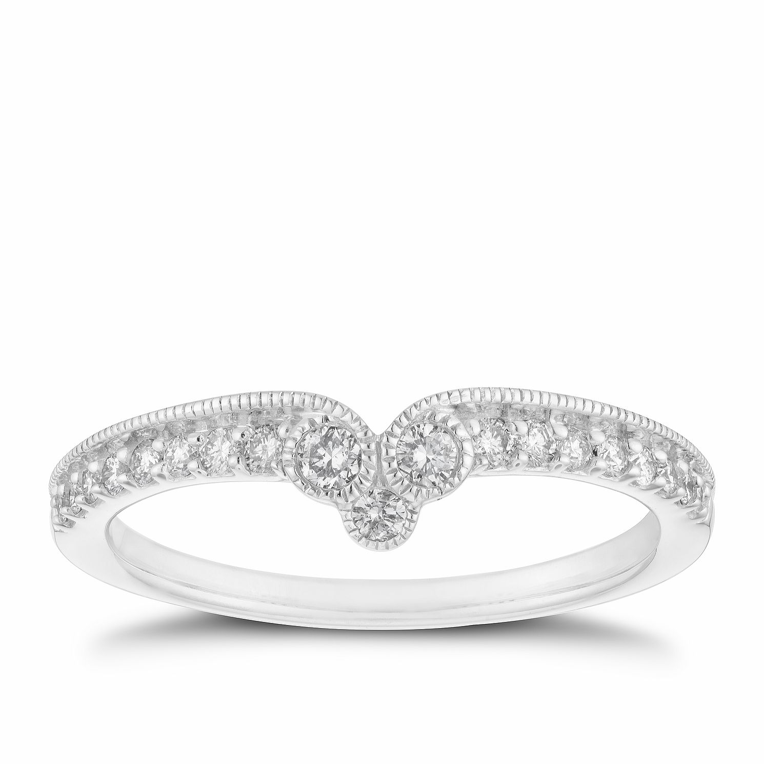 18ct White Gold 0.20ct Diamond Milgrain Shaped Ring - Product number 2936909