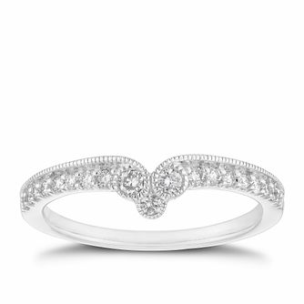 18ct White Gold 1/5ct Diamond Milgrain Shaped Ring - Product number 2936909