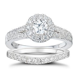 Tolkowsky 18ct White Gold 1ct Total Diamond Halo Bridal Set - Product number 2937832