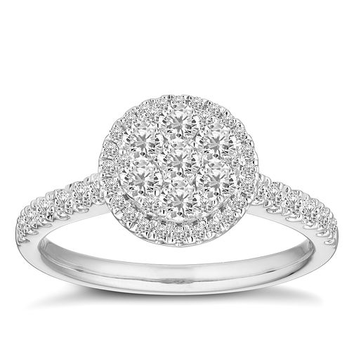 18ct White Gold 3/4ct Diamond Round Cluster Ring - Product number 2940507