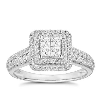 18ct White Gold 3/4ct Diamond Princess Halo Cluster Ring - Product number 2941694