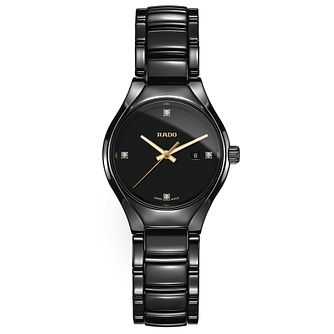 Rado ladies' black ceramic and gold-plated bracelet watch - Product number 2941937