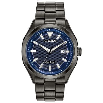 Citizen Men's Blue Dial Grey IP Bracelet Watch - Product number 2948303
