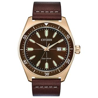 Citizen Men's Black Dial Brown Leather Strap Watch - Product number 2948338