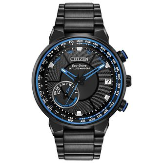 Citizen Men's Blue Accented Dial Black IP Bracelet Watch - Product number 2948419